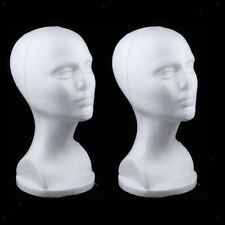 2Pcs Female Mannequin Styrofoam Foam Manikin Head Wig Glass Hat Display