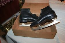 Vintage Mens Arco Continenta Figure Ice Skates Black Leather box