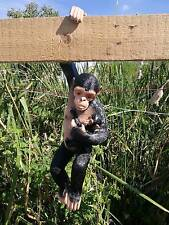 Chimpanzee Monkey&Baby Sculpture Statue Arm Hanging Garden/Home Decor Collectibl