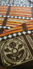Vintage Biederlack Blanket Orange Brown Tribal Geometric Design Germany Throw