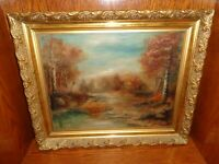 Antique 1905 Oil on Canvas Painting of a Wooded Landscape & Stream, Signed