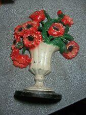 Antique Orig Hubley #440 Basket Red Poppies Floral Cast Iron Door Stop
