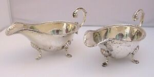 Pair of Vintage Silver-Plated Sauce Boats Jugs in the Antique Style