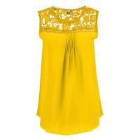 Womens Chiffon Sleeveless Casual Lace Vest Blouse Loose Ladies Tops Shirts 8-22