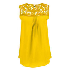 Womens Chiffon Sleeveless Shirt Casual Lace Vest Blouse Loose Ladies Tops 8-22