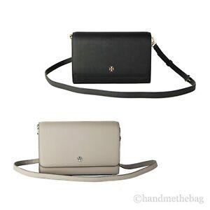 Tory Burch (78603) Emerson Saffiano Leather Small Combo Crossbody Clutch Handbag