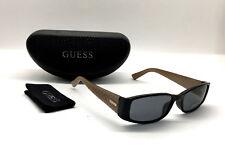 Guess GU 7259 BLKGLD-3 Women Sunglasses Rectangle Black Gold / Grey NEW BB14