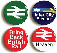4 x BRITISH RAIL RAILWAYS ENTHUSIAST BADGES BUTTONS PINS (1inch/25mm diameter)