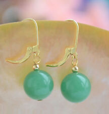 ON SALE New Fashion 10mm Light Green Jade Round Beads 18KGP Leverback Earrings