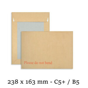 PLEASE DO NOT BEND HARD CARD BOARD BACKED ENVELOPES BROWN C5+ SIZE MAILER