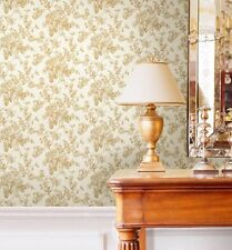 Traditional Elegant Gold Rose Creme Wallpaper Cottage Chic Designer Floral DIY