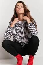 Forever 21 Black White Gingham Hooded Jacket S/M