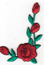 Red Rose and Buds Left Flowers Collar Trim Iron On Embroidered Patch