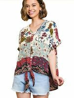 Vanilla Mix Floral Mixed Print Short Sleeve V-Neck Button