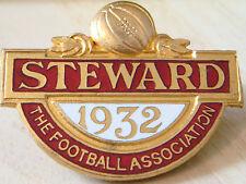 THE FOOTBALL ASSOCIATION 1932 STEWARD Badge Brooch pin 44mm x 34mm