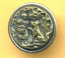 Antique Metal Picture Button…Little Red Riding Hood
