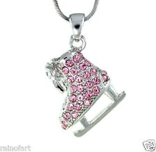 "Made With Swarovski Crystal Charm ICE SKATING Figure Pink Necklace 18"" Chain"