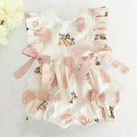 Newborn Infant Baby Girl Boy Bow Cartoon Deer Romper Jumpsuit Clothes Outfits UK
