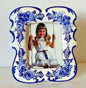 """Hand Painted Delft Blue Picture Frame Porcelain  New  5.75"""" x 5"""" Free Standing"""