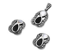 Marcasite Set Silver 925 Pendant & Earrings Jewelry Mother of Pearl & Black Onyx