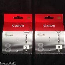 2 x Canon CLI-8BK Original OEM Inkjet Cartridges For MP510, MP520