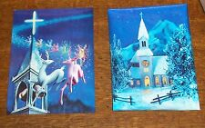 VTG 3D LENTICULAR POSTCARD SANTA CLAUS CHRISTMAS CHURCH REINDEER SWEDEN STAMP