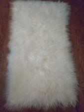 Real Mongolian Tibet  Lamb Fur Bleached White  Rug  Plate  Throw  genuine