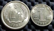 China PRC 1986 Wu Fen (5 Cent) & 1999 Yi Jiao (10 cent) UNC (+FREE 1 coin) #D815
