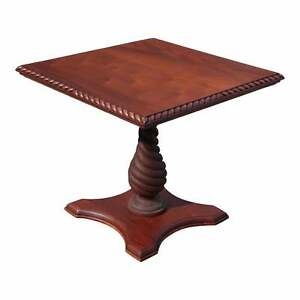 Antique Solid Mahogany Gadrooned Edge Twisted Pedestal Table