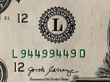VERY RARE - BINARY RADAR REPEATER PALINDROME 2017 $1 Dollar Bill L 9449 9449 D