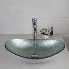 Oval Silver Glass Bathroom Vessel Sink Bowl Brass Mixer Water Taps Faucet Set