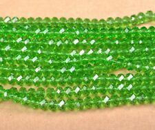 100Pcs Green Crystal Glass Faceted Rondelle Spacer Beads 6MM