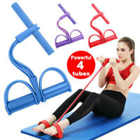Fitness 4 Tube Resistance Band Exercise Sit-up Pull Rope Yoga Workout Gym Indoor