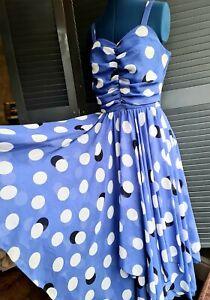 Vintage 1960's/70's Polkadot Dress, Full Skirt, Betty Draper, Mad Men, S 10-12