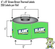 """GREEN 1 Roll 4"""" x 6"""" Direct Thermal Labels on Rolls 250. For Eltron Zebra 2844"""