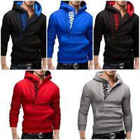 Fashion Men's Gym Hoodies Hooded Sweatshirt Jacket Long Sleeve Tops Coat Outwear