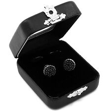Men's Black Hip Hop Iced Out Paved Cz Round Screw Back Stud Earrings M E26