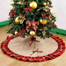 Linen Burlap Christmas Tree Skirt Plaid Ruffle Edge Border Round Mat Xmas Decor