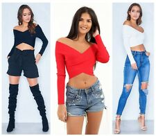 Womens Bardot Cross Wrap Over Front Bodycon Bandage Cropped Top