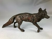 ANTIQUE AUSTRIA VIENNA COLD PAINTED BRONZE FOX WALKING, IN THE STYLE OF BERGMAN