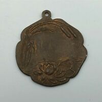 Vintage Water Lilly's Lily Pad Cattails FOB Pendant Medal Not Sure Antique M5