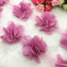 New 1 Yard Flower Chiffon Wedding Dress Bridal Fabric Lace Trim Pale Mauve
