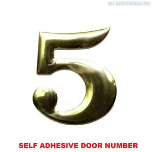 Self Adhesive House Door Number 5 Plaque Sign Gold Home Letter Apartment 35 Gate