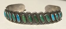 VINTAGE NAVAJO INDIAN SILVER CERRILLOS AND BLUE MULTI TURQUOISE CUFF BRACELET *