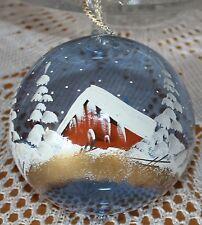 mundgeblasene handbemalte Glaskugel mit Weihnachtsmotiv