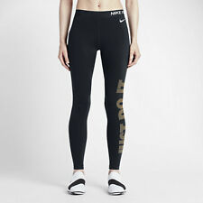 Nike Pro Warm Women's Graphic Training Tights XS Black Gold Gym Running New