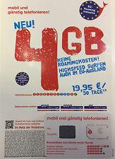 EU SIM Karte für Europa (31 EU Länder) inkl. 4 GB internet FLAT Travel Sim