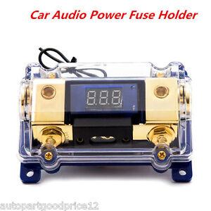 100A Car AGU Audio Power Fuses Holder Block LED Digital Display 0GA In 4GA Out