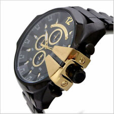DIESEL DZ4338 Mega Chief Black and Gold Mens Watch Stainless Steel Chrono