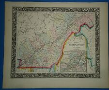 Vintage Circa 1860 QUEBEC MONTREAL MAP Old Antique Original Vibrant Hand Colored